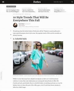 10 Style Trends: That Will Be Everywhere This Fall - forbes.com - 2020 07 31 - Alexandra Lapp - found on https://www.forbes.com/sites/sboyd/2020/07/31/10-style-trends-that-will-be-everywhere-this-fall/?sh=75b8bce4100d
