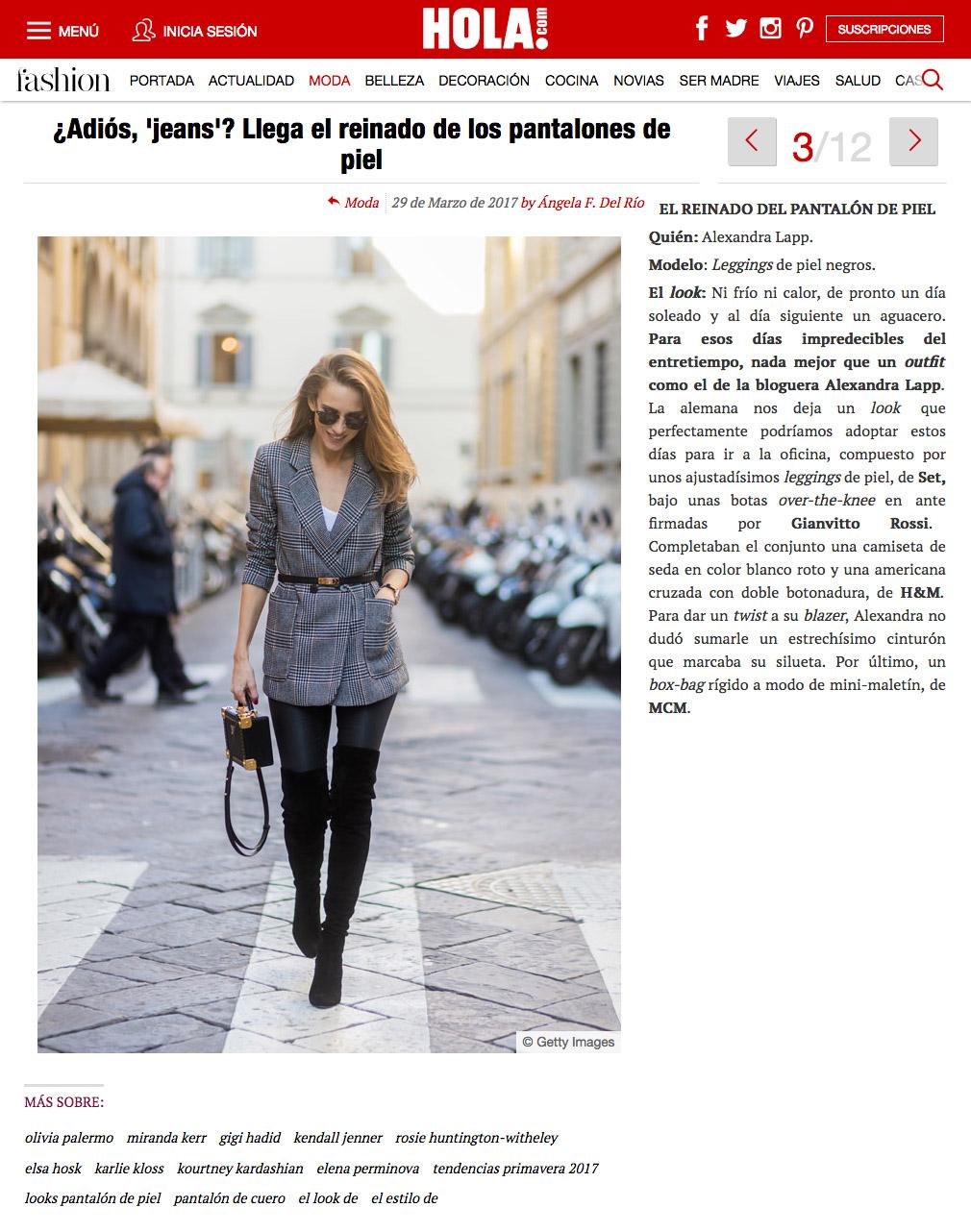 Adios jeans? Llega el einado de los pantalones de piel - 2017 03 - Alexandra Lapp - found on http://www.hola.com/moda/tendencias/galeria/2017032992778/pantalon-piel-looks/3/