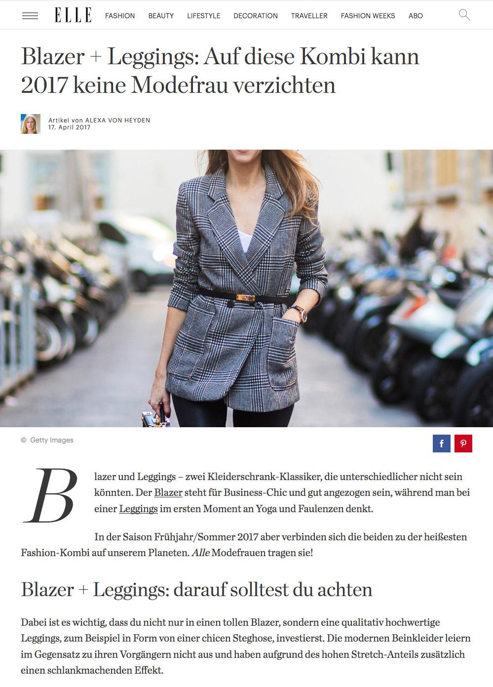 Blazer und Legging: Die Trend-Kombi 2017 - ELLE - 2017 04 - Alexandra Lapp - found on http://www.elle.de/blazer-leggings-kombi