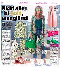 Blick - Nicht alles ist Gold was glänzt - 2017 06 19 - page 18 - Alexandra Lapp - also on https://www.blick.ch/life/mode/trendstoff-satin-nicht-alles-ist-gold-was-glaenzt-id6860561.html