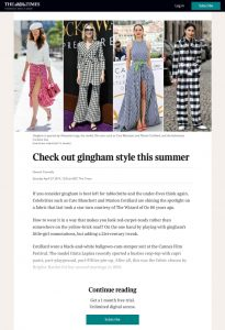 Check out gingham style this summer - The Times - thetimes.co.uk - 2020 04 27 - Alexandra Lapp - found on https://www.thetimes.co.uk/article/check-out-gingham-style-this-summer-dw2km9xvp