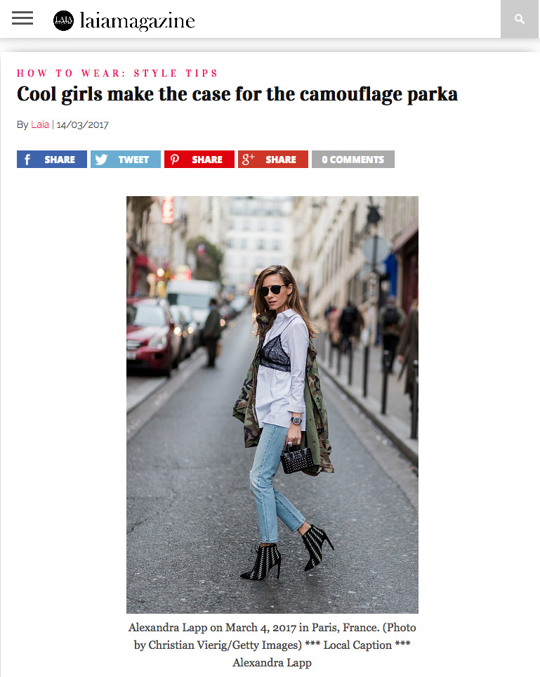 Cool girls make the case for the camouflage parka - LaiaMagazine 2017-03_Alexandra Lapp - found on http://www.laiamagazine.com/shop-camouflage-parka-trend-cool-girls-favourite-spring-2017/