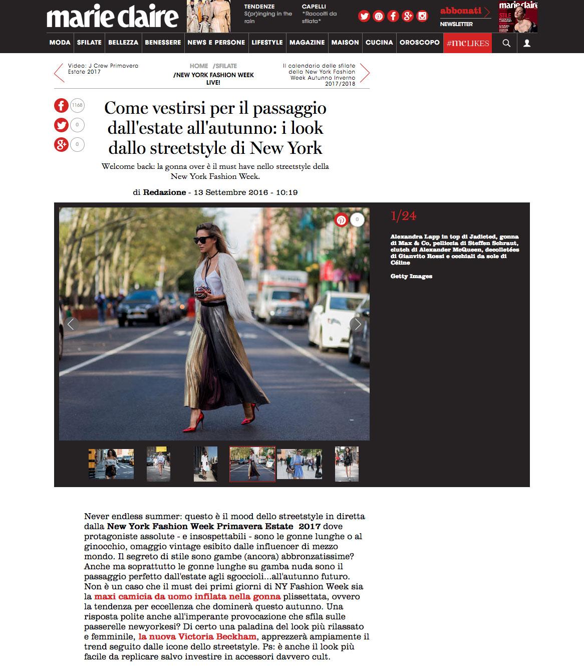Cosa mettersi per passare dall estate all autunno ispirazione streetstyle New York - Marieclaire - 2016-09 - found on http://www.marieclaire.it/Sfilate/New-York/gonna-tendenza-new-york#1