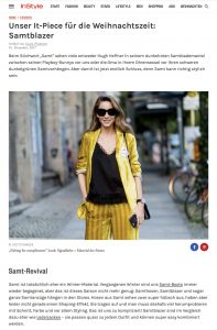 Das It Piece der InStyle Redaktion für die Weihnachtszeit: Samtblazer - InStyle - 2017-12-01 - Alexandra Lapp - found on http://www.instyle.de/fashion/blazer-samt-winter-2017