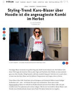 Diesen Herbst tragen wir alle Karo-Blazer über Hoodies - InStyle.de - 2018 09 16 - Alexandra Lapp - found on https://www.instyle.de/fashion/styling-trend-karo-blazer-ueber-hoodie