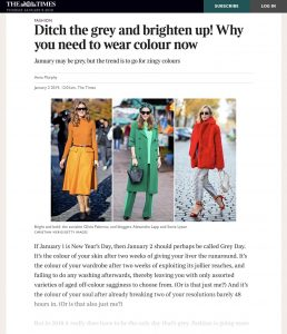 Ditch the grey and brighten up - Why you need to wear colour now - The Times - thetimes.co.uk - 2019 01 02 - Alexandra Lapp - found on https://www.thetimes.co.uk/article/ditch-the-grey-and-brighten-up-fccs3tdmc