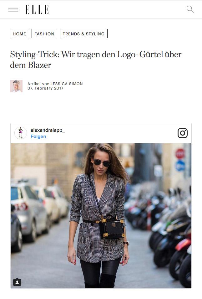 Elle Styling Trick - Wir tragen den Logo Gürtel über dem Blazer - Alexandra Lapp 2017-03 - found on http://www.elle.de/guertel-ueber-blazer