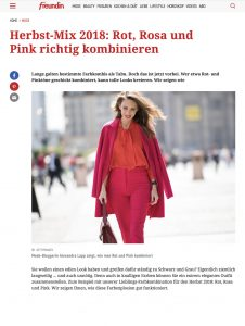 Herbst Mix 2018 - Rot Rosa und Pink richtig kombinieren - freundin Germany online -_2018 08 28 - Alexamdra Lapp - found on https://www.freundin.de/mode-colour-blocking-rot-pink-rosa