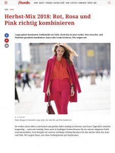 Herbst Mix 2018 - Rot Rosa und Pink richtig kombinieren - freundin Germany online -_2018 08 28 - Alexamdra Lapp - found on https://www.freundin.de/mode-colour-blocking-rot-pink-rosa