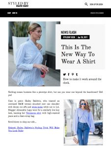 How To Wear An Oversized Pinstripe Shirt Like Hailey Baldwin - styledByMarieClaire - 2017 05 - Alexandra Lapp - found on http://www.styledbymarieclaire.com.au/inspiration/news-flash/this-is-the-new-way-to-wear-a-shirt