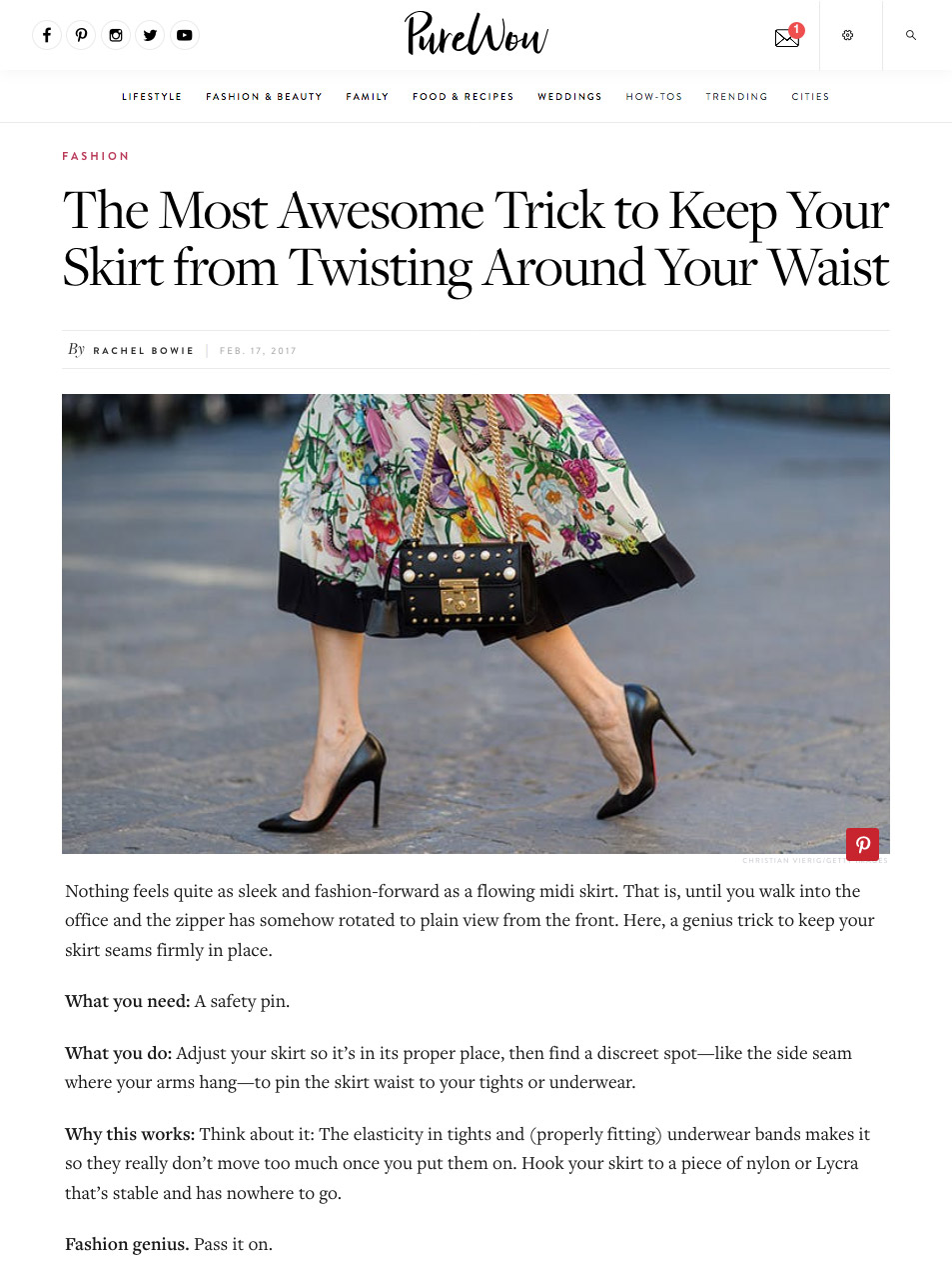 How to Keep Your Skirt from Twisting Around Your Waist PureWow - 2017 03 - Alexandra Lapp - found on http://www.purewow.com/fashion/how-to-keep-your-skirt-from-twisting