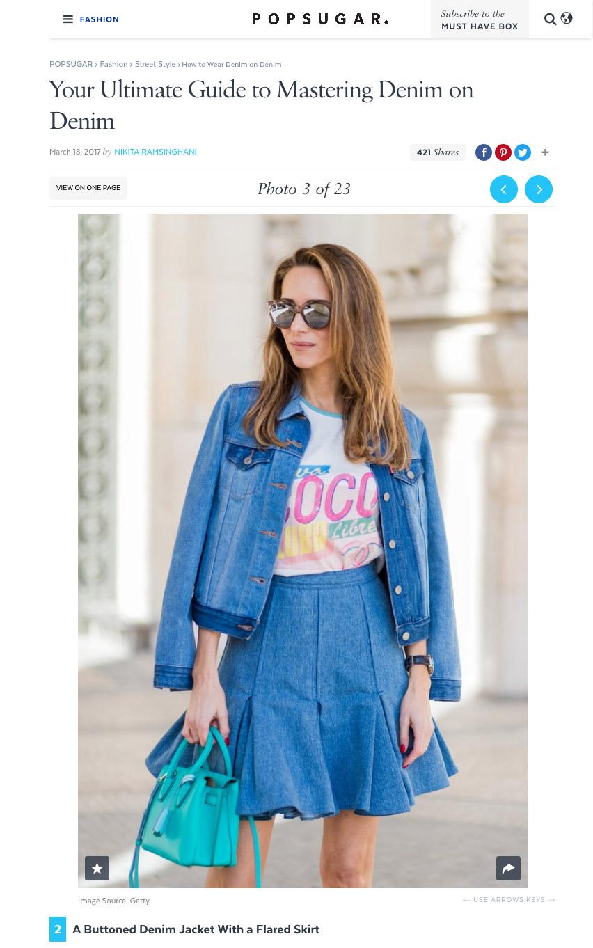 How to Wear Denim on Denim - POPSUGAR - Fashion Photo 3 - 2017-03 - Alexandra Lapp - found on https://www.popsugar.com/fashion/photo-gallery/40919897/image/40919929/Buttoned-Denim-Jacket-Flared-Skirt