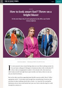 How to look smart fast? Throw on a bright blazer - Times2 - The Times - thetimes.co.uk - 2020 07 29 - Alexandra Lapp - found on https://www.thetimes.co.uk/article/how-to-look-smart-fast-throw-on-a-bright-blazer-s86kdr29n