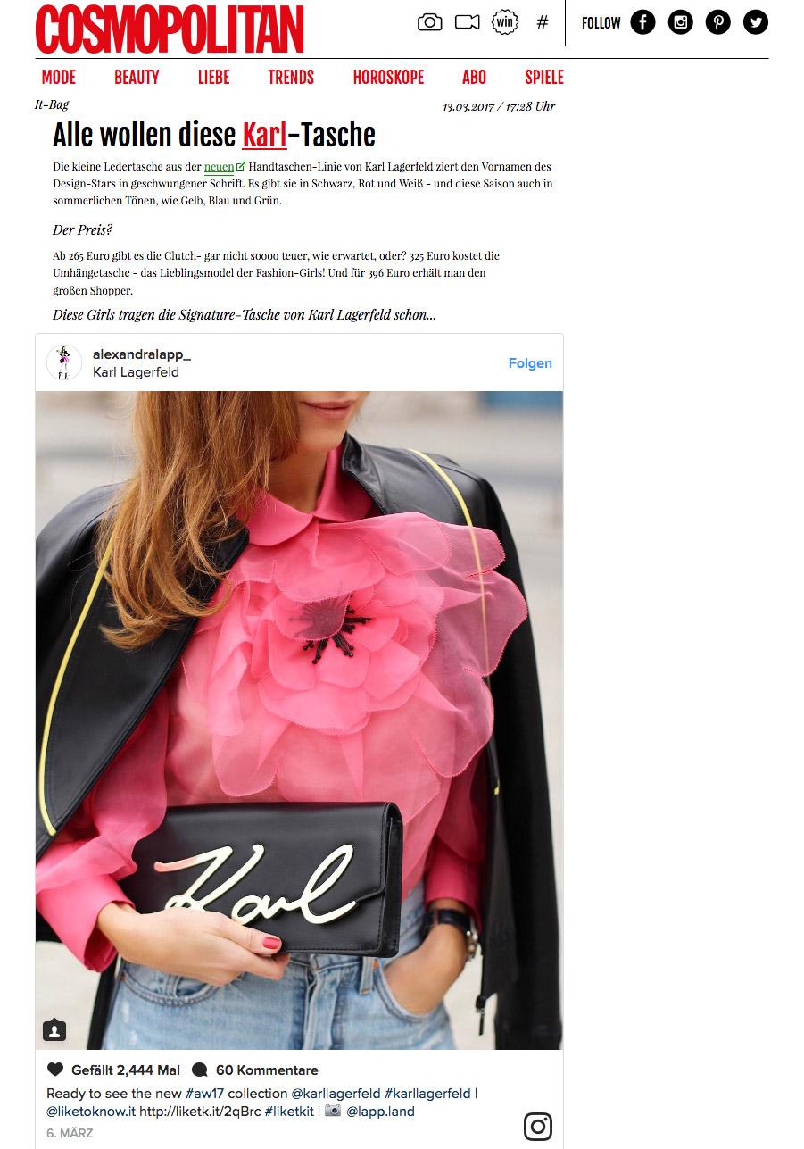 It Bag - Alle wollen diese Karl-Tasche - COSMOPOLITAN - 2017-03 - Alexandra Lapp - found on http://www.cosmopolitan.de/it-bag-alle-wollen-diese-karl-tasche-79640.html