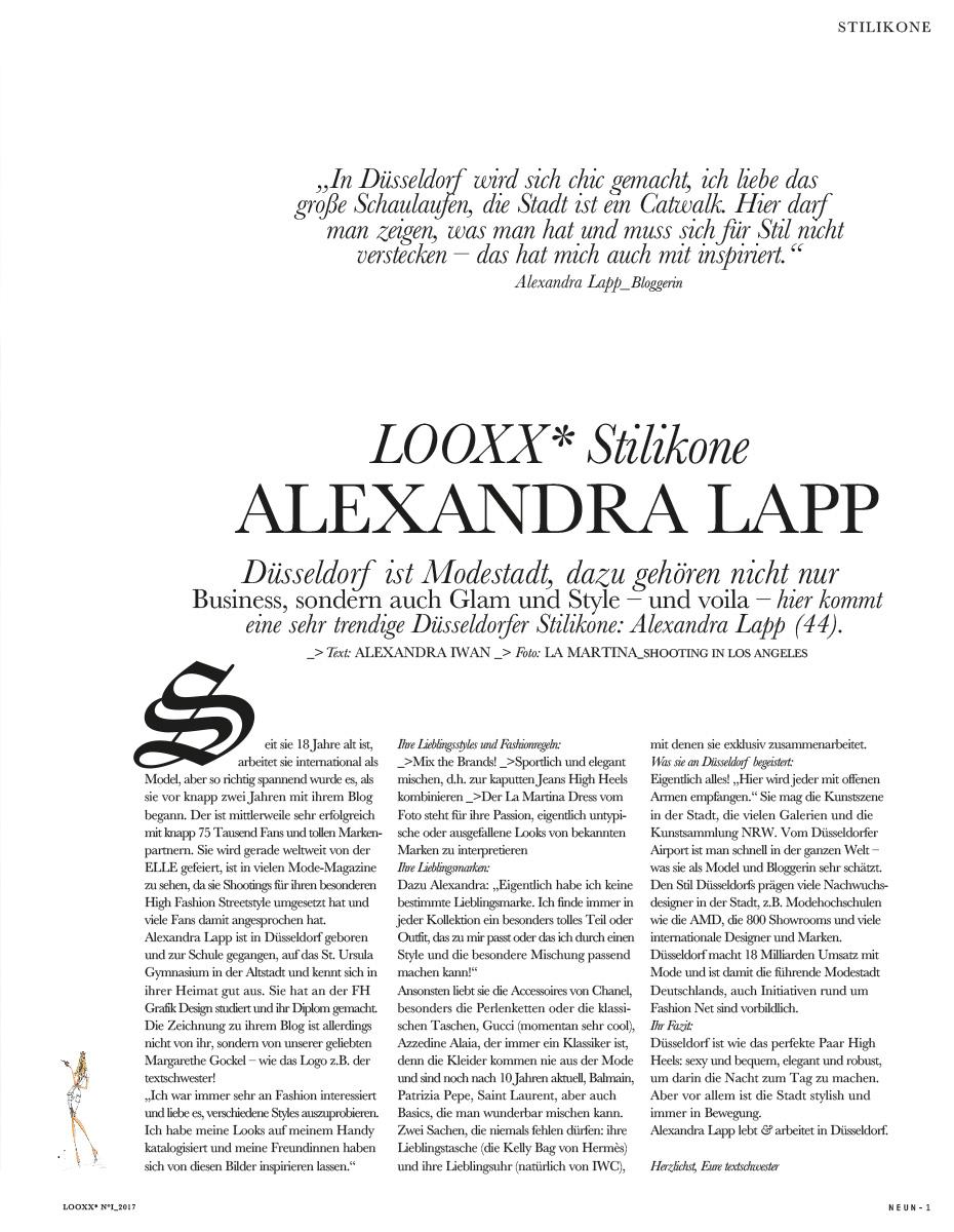 Alexandra Lapp in LOOXX - NO01 2017 - Stilikone Alexandra Lapp