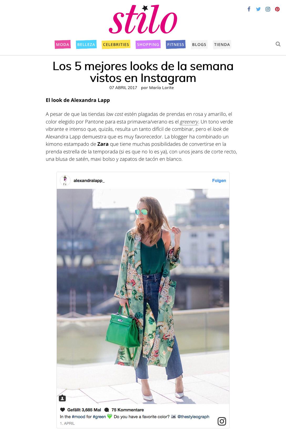 Los 5 mejores looks de la semana vistos en Instagram - STILO ES - 2017 04 - Alexandra Lapp - found on http://www.stilo.es/moda/los-5-mejores-looks-de-la-semana-vistos-en-instagram4