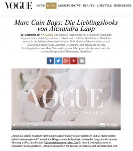 Marc Cain Bags - Die Lieblingslooks von Alexandra Lapp - VOGUE de - 2017-12-05 - Alexandra Lapp - found on http://www.vogue.de/mode/promotion/anzeige-marc-cain-bags-die-lieblingslooks-von-alexandra-lapp