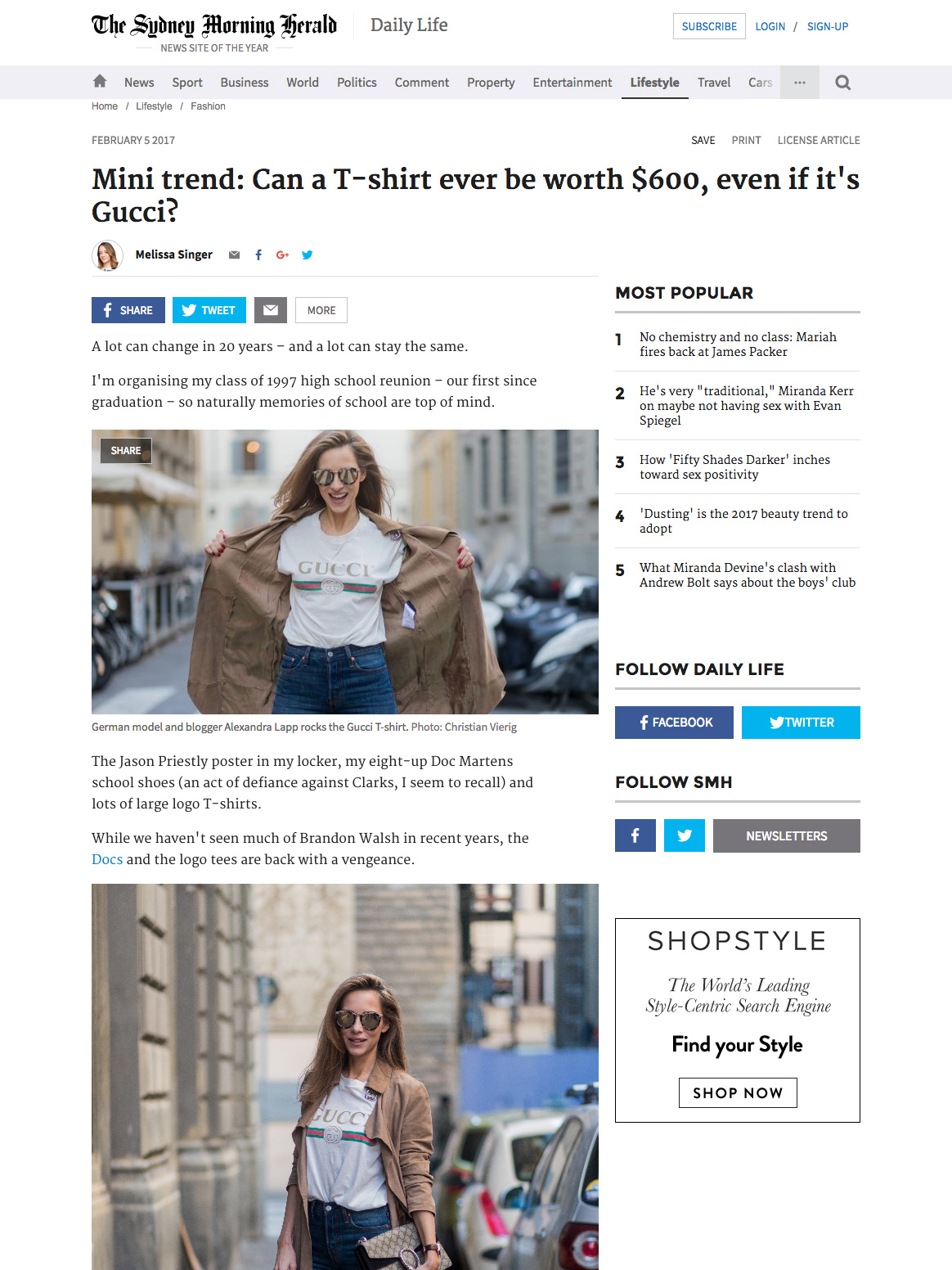 Alexandra Lapp Street Style - Found on http://www.smh.com.au/lifestyle/fashion/mini-trend-can-a-tshirt-be-worth-600--even-if-its-gucci-20170126-gtz50c.html