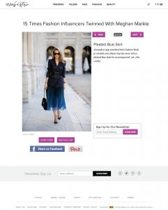 Pleated Blue Skirt - 15 Times Fashion Influencers Twinned With Meghan Markle - stylebistro com - 2019 03 - Alexandra Lapp - found on http://www.stylebistro.com/Fashion+Bloggers+Who've+Twinned+With+Meghan+Markle/articles/3TlVsr7KTV1/Pleated+Blue+Skirt