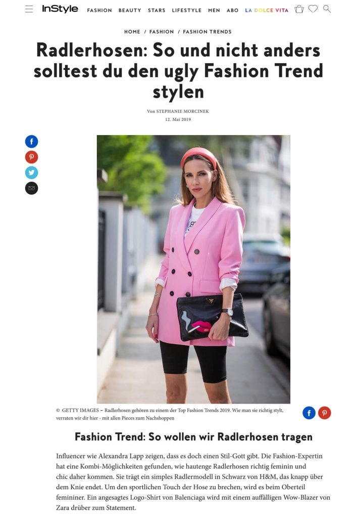Radlerhose - So stylst du den Fashion-Trend - inStyle.de - 2019 05 12 - Alexandra Lapp - found on https://www.instyle.de/fashion/trend-radlerhose-richtig-stylen