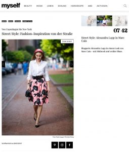 Street Style Fashion - Inspiration von der Straße - myself.de - 2019 05 28 - Alexandra Lapp - found on https://www.myself.de/mode/trends/galerie-street-style/#street-style-alexandra-lapp-in-marc-cain