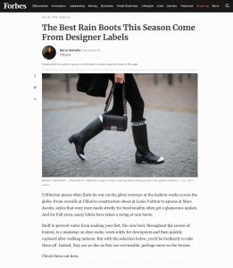 The Best Rain Boots - This Season Come From Designer Labels - forbes.com - 2019 12 18 - Alexandra Lapp - found on https://www.forbes.com/sites/barrysamaha/2019/12/18/the-best-rain-boots-this-season-come-from-designer-labels/#7455b47ee597