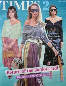 The Times Magazine - Times 2 - 2020 05 20 - Return of the Bardot cardi - The sexy It knit of the season - Alexandra Lapp