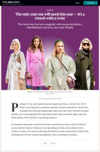 The only coat you will need this year it's a trench with a twist - Times2 - The Times - thetimes.co.uk - 2019 08 21 - Alexandra Lapp - found on https://www.thetimes.co.uk/article/the-only-coat-you-will-need-this-year-its-a-trench-with-a-twist-m622c5lh9