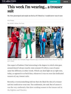 This week I'm wearing a trouser-suit - The Times Magazine - The Times - thetimes.co.uk - 2019 05 18 - Alexandra Lapp - found on https://www.thetimes.co.uk/magazine/the-times-magazine/this-week-im-wearing-a-trouser-suit-0f7z29wzs