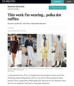 This week I'am wearing polka dot ruffles - The Times Magazine - thetimes co uk - 2019 02 16 - Alexandra Lapp - found on https://www.thetimes.co.uk/article/this-week-im-wearing-polka-dot-ruffles-55tkz23zg