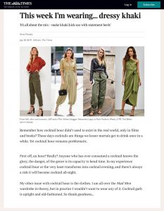 This week I'm wearing dressy - khaki - The - Times- Magazine - thetimes.co.uk - 2019 07 20 - Alexandra Lapp - found on https://www.thetimes.co.uk/magazine/the-times-magazine/this-week-im-wearing-dressy-khaki-8d5gq5mpk