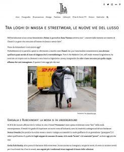 Tra loghi di massa e streetwear le nuove vie del lusso - Thy-Magazine Italy - 2018 06 - Alexandra Lapp - found on https://thymagazine.it/loghi-di-massa-streetwear-nuove-vie-lusso/