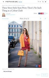 Unusual Colour Combination Outfit Ideas - POPSUGAR Fashion co uk - 2018 06 09 - Alexandra Lapp - found on https://www.popsugar.co.uk/fashion/photo-gallery/44887453/image/44887448/Red-Orange