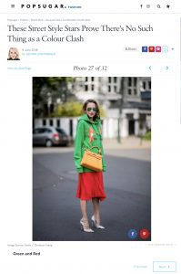 Unusual Colour Combination Outfit Ideas - POPSUGAR Fashion co uk - 2018 06 09 - Alexandra Lapp - found on https://www.popsugar.co.uk/fashion/photo-gallery/44887453/image/44887447/Green-Red