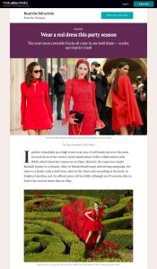 Wear a red dress this party season - Times2 - The Times - thetimes.co.uk - 2019 11 05 - Alexnadra Lapp - found on https://www.thetimes.co.uk/article/wear-a-red-dress-this-party-season-65h7xvxq7