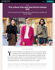 Why a blazer is the must-have item for autumn 2019 - The Times - thetimes.co.uk - 2019 10 08 - Alexandra Lapp - found on https://www.thetimes.co.uk/edition/times2/why-a-blazer-is-the-must-have-item-for-autumn-2019-tz79qcbn3