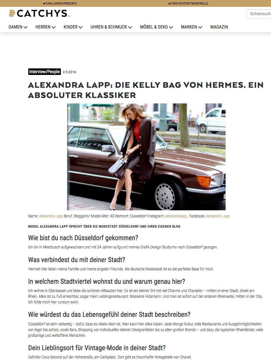 Interview with Alexandra Lapp on https://www.catchys.de/magazin/alexandra-lapp-die-kelly-bag-von-hermes-ein-absoluter-klassiker