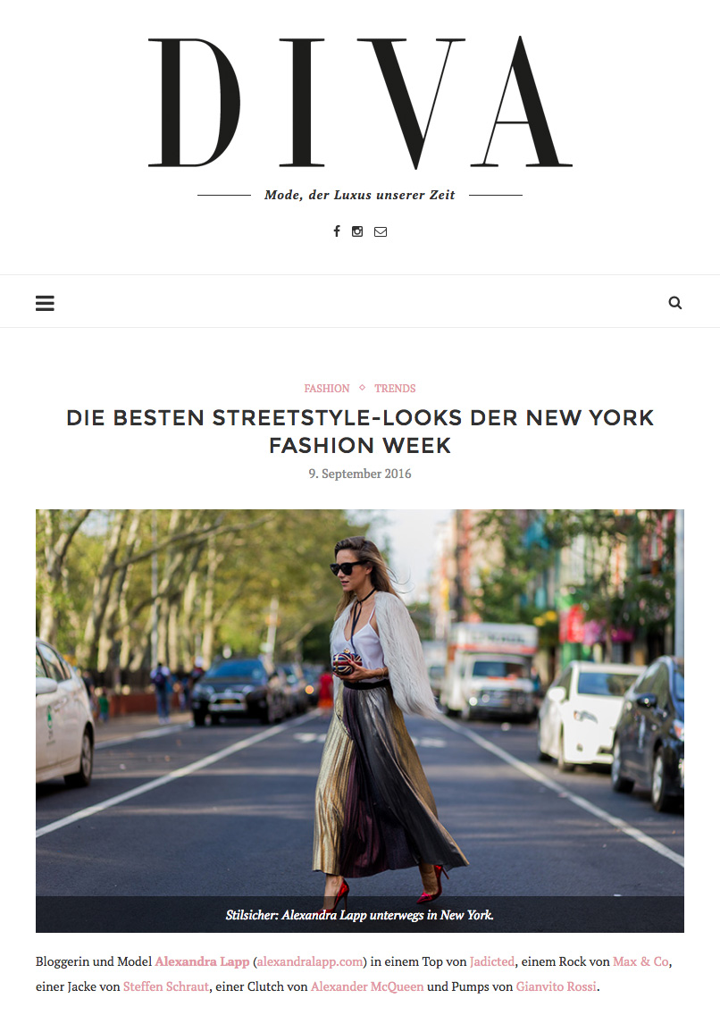 Alexandra Lapp Street Style at New York Fashion Week 2016 - Photo by Christian Vierig - Found on www.diva-online.at