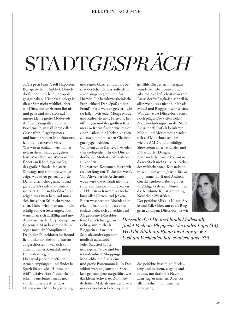 Alexandra Lapp column for Elle City Düsseldorf - http://www.elle.de