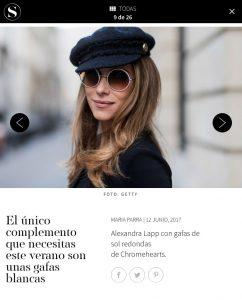 gafas de sol - Galeria de fotos 9 de 26 - S-Moda - lpais -2017 06 - Alexandra Lapp - found on http://smoda.elpais.com/moda/el-unico-complemento-que-necesitas-este-verano-son-unas-gafas-blancas/100150960/image/100151247