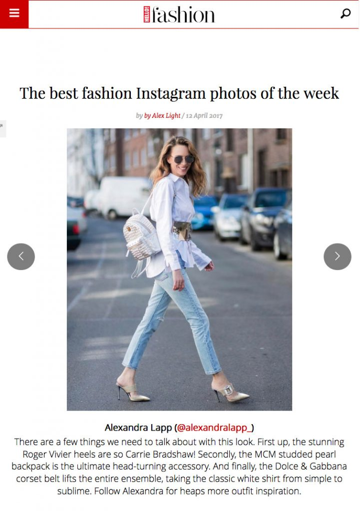 hellomagazine - The best fashion Instagram photos of the week - Foto 9 - 2017 04 - Alexandra Lapp - found on http://fashion.hellomagazine.com/fashion-news/gallery/201704126344/best-fashion-instagram-blogger-inspiration/9/