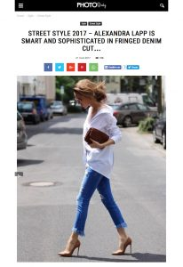 photodaily - Street Style 2017 - Alexandra Lapp is smart and sophisticated in fringed denim cut - Photos Daily Magazine - Discover inspiration and beautiful images every day - 2017-03 - found on https://photo.flashmode.tn/street-style-2017-alexandra-lapp-is-smart-and-sophisticated-in-fringed-denim-cut/