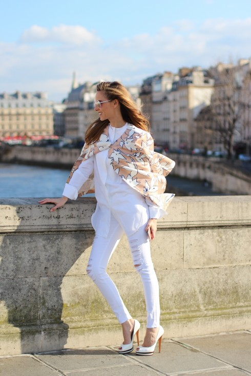 Alexandra Lapp wearing a floral coat from Herzensangelegenheit, Frame, Celine, Casadei, Cutler-and-Cross