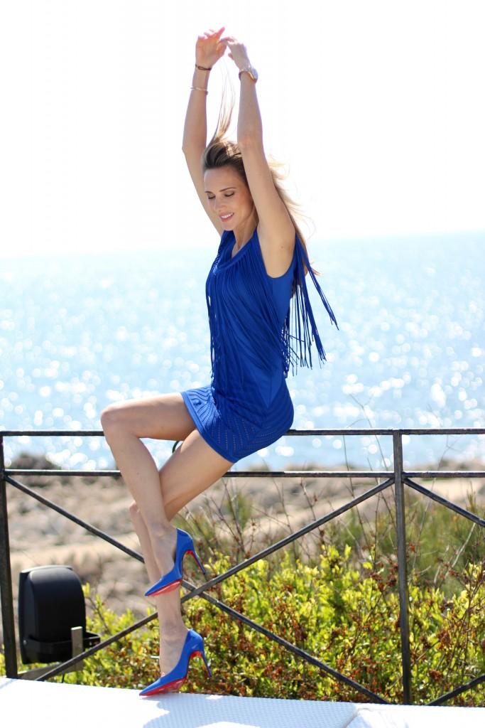 Alexandra Lapp wearing Roberto Cavalli, Christian Louboutin