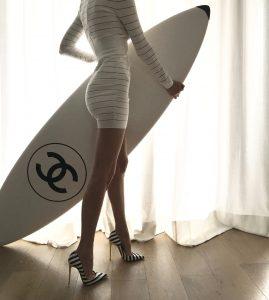 Alexandra Lapp wearing Balmain, Christian Louboutin
