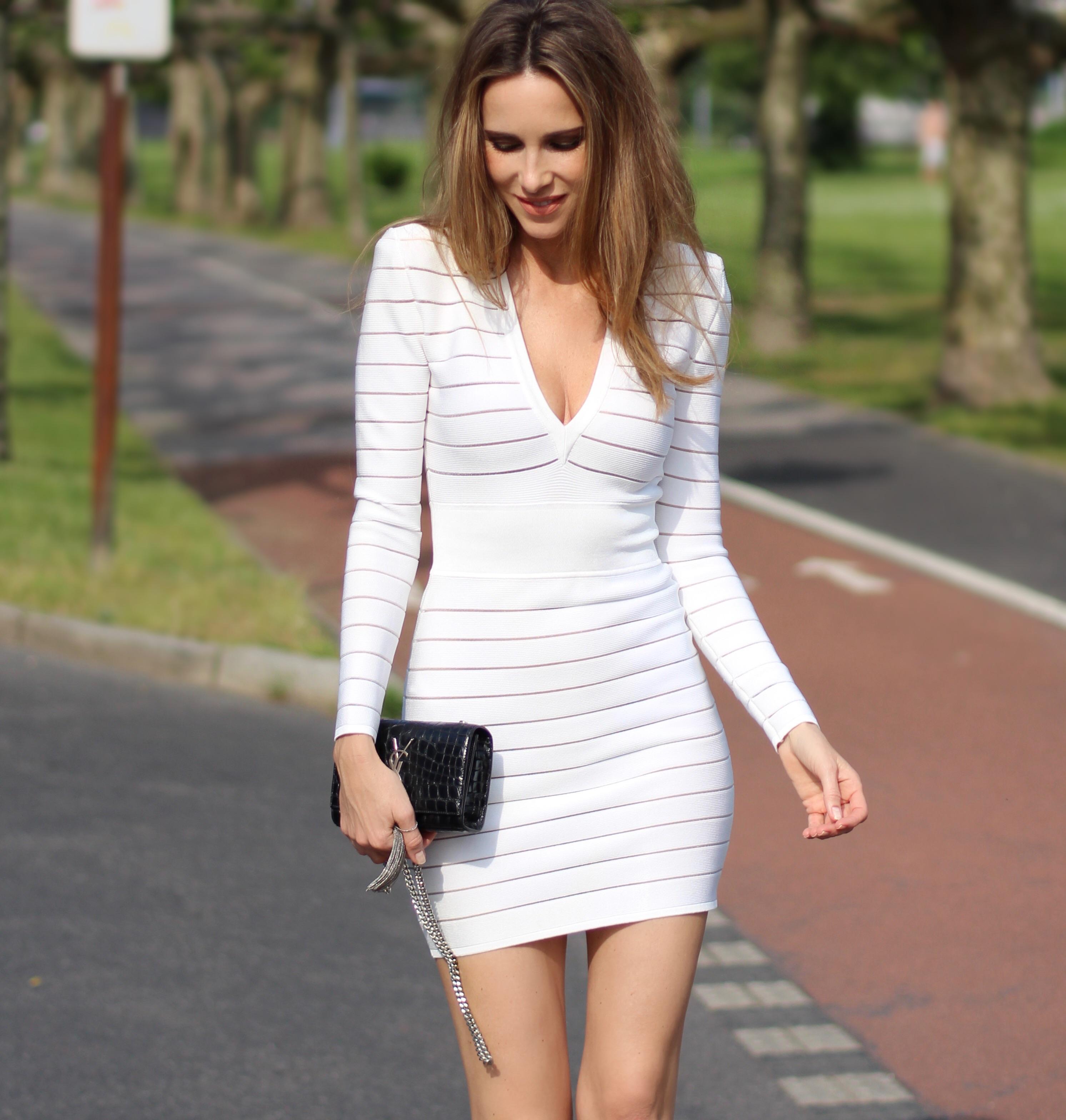... Topshop · Alexandra Lapp wearing a white dress from Balmain, Saint Laurent, ...