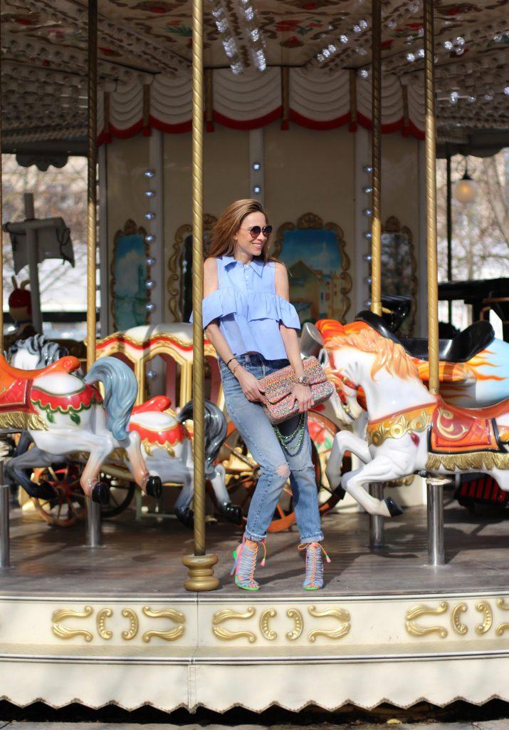 Alexandra Lapp wearing Zara, Levis, Chanel, Sophia Webster, Dita, Levis ReDone