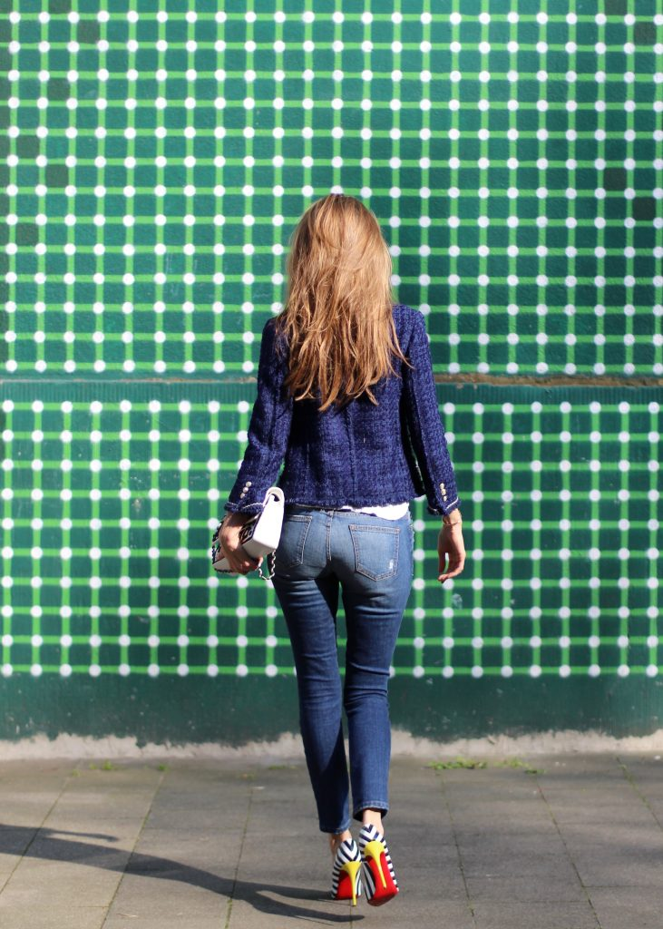 Alexandra Lapp wearing a tweed jacket from Zara, James Perse, Christian Louboutin, Chanel, Current-Elliott, Cartier