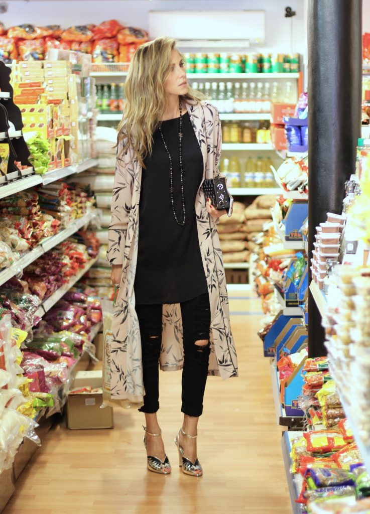 Alexandra Lapp wearing a Kimono from Top Shop, Frame, Miu Miu, Chanel, Louis Vuitton, Chiara Ferragni, Parentis