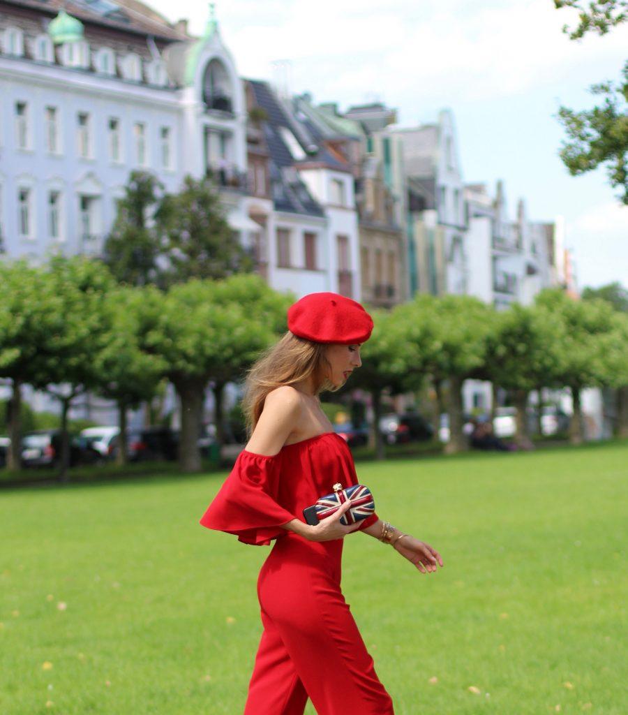 Alexandra Lapp wearing a jumpsuit from Zara, Valentino, Alexander McQueen, Asos, Armani